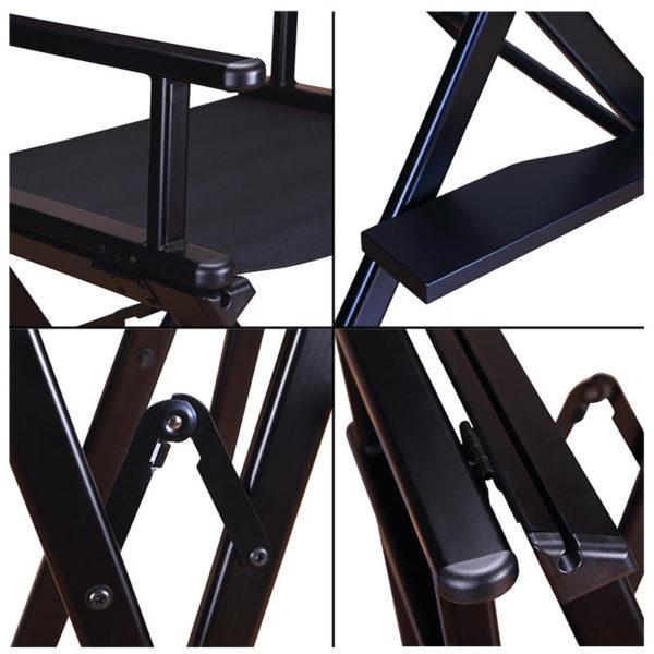 Разборный стул визажиста из алюминия c подголовником
