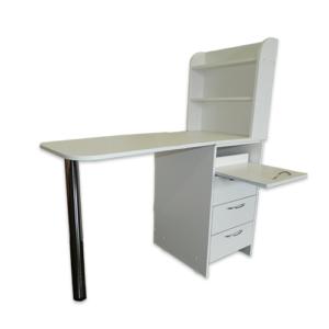 Маникюрный стол с тумбой 3 полки и полочка под аппарат (белый)