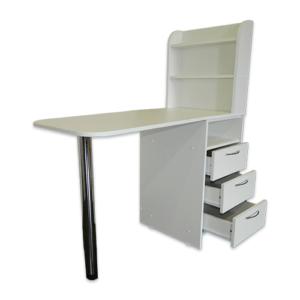 Стол для маникюра с тумбой 3 полки (белый)